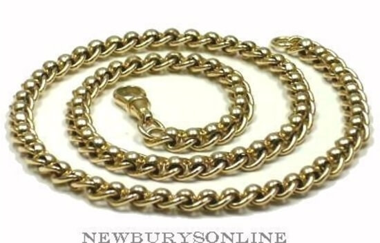 18 Inch Solid 9ct Gold Rollerball Chain Necklace 0018