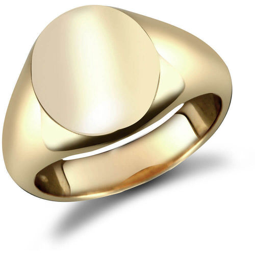 Mens 18ct Gold oval Signet Ring 20mm