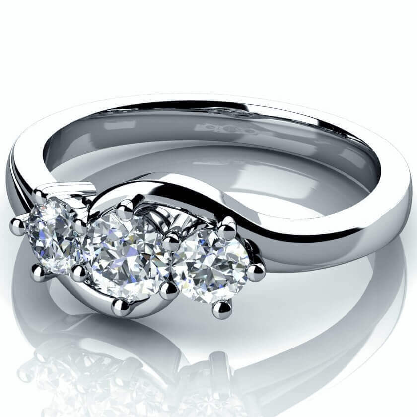 18ct White Gold Trilogy Diamond Engagement Ring 00095