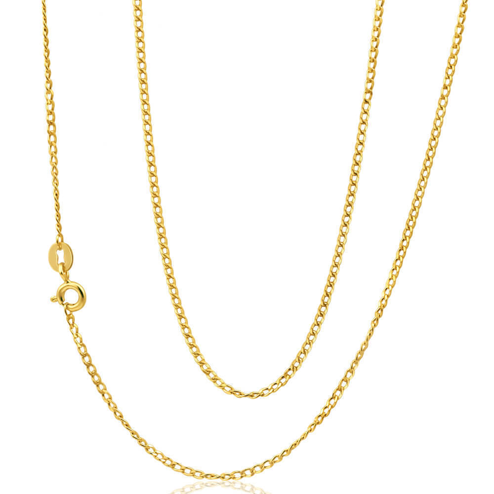 18ct Gold Curb Chain Necklace 10 Grams 24 Inch 0400
