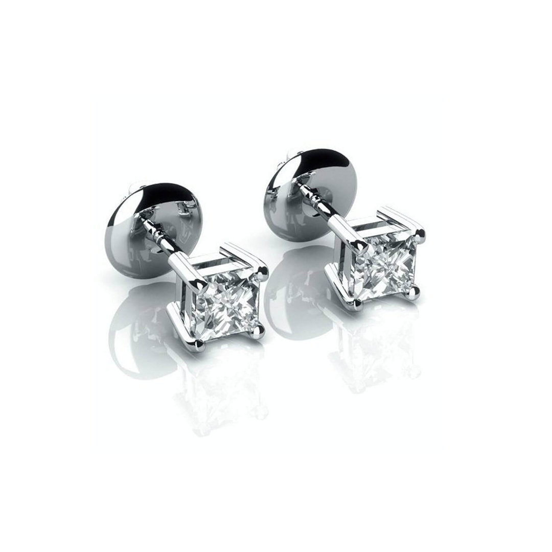 18ct White Gold 0 25 Carat Princess Diamond Stud Earrings