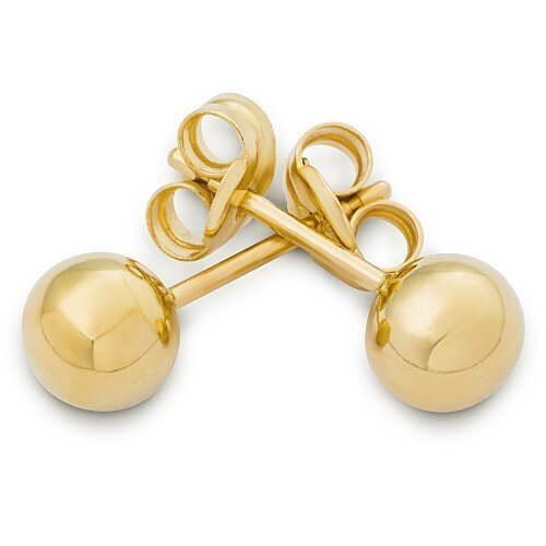 9ct Yellow Gold 4mm Plain Ball Stud Earrings