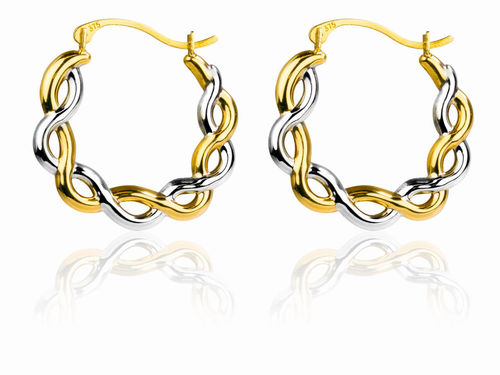 9ct yellow Gold & white rhodium Creole twist hoop Earrings