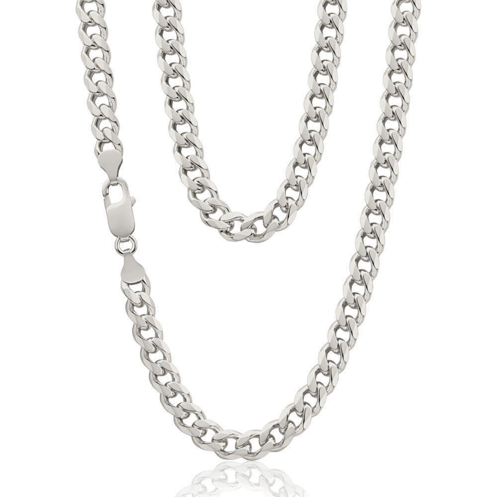 Mens Solid Sterling Silver Curb Chain 20 Inch For Sale