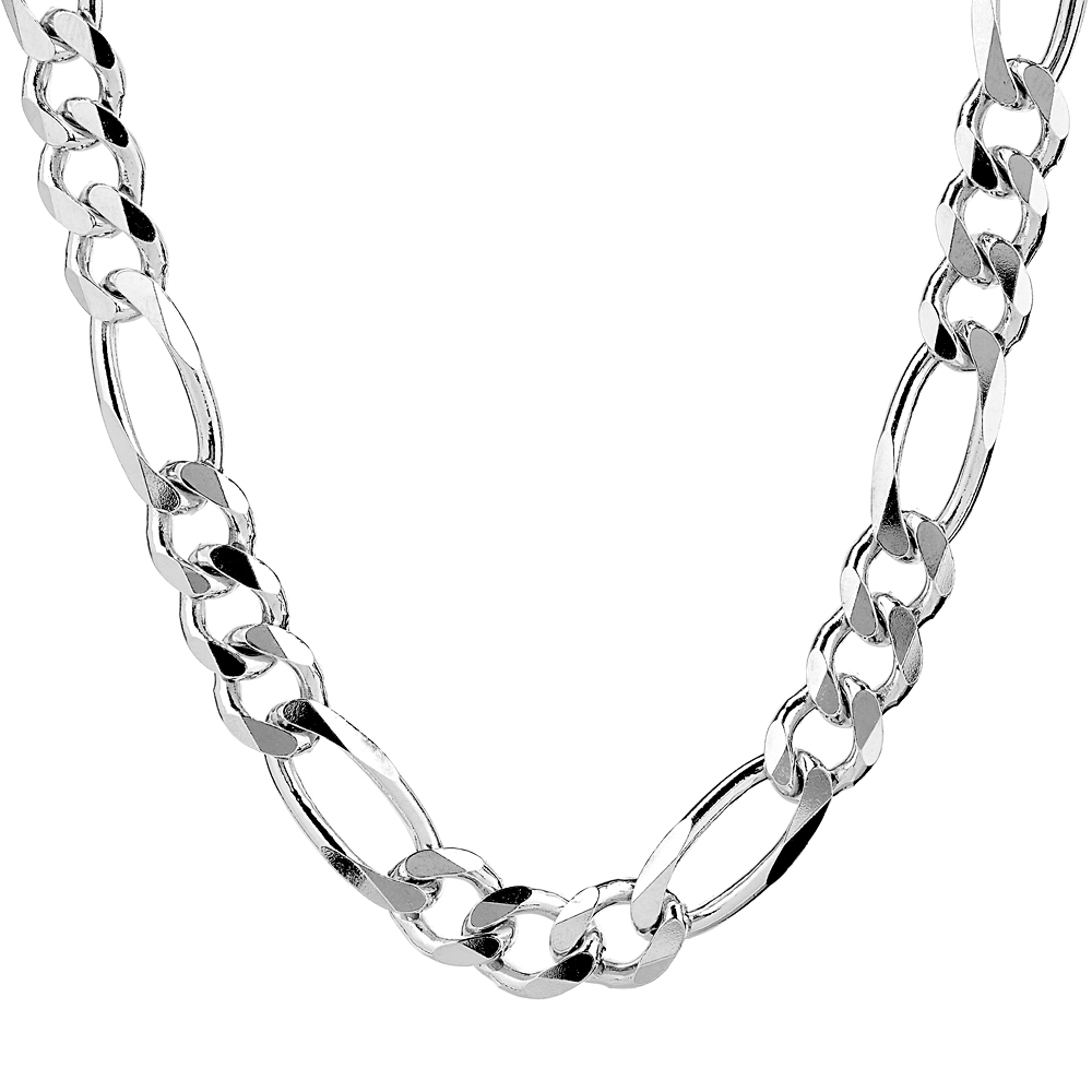 Mens Heavy Sterling Silver Figaro Chain For Sale
