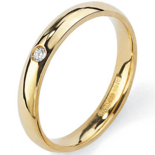 Womens 9ct Gold round Diamond 4mm Court shape Wedding Ring