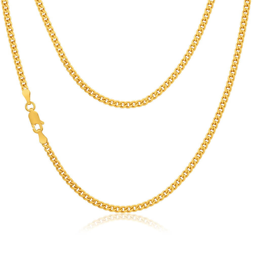 Mens 9ct Gold Curb Chain Necklace 20 Inch 41259