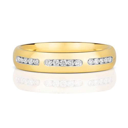 Womens 9ct Gold 3mm Diamond Court shape Wedding Ring