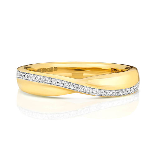 Womens 9ct Gold crossover Diamond Wedding Ring