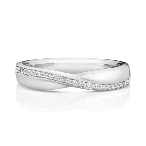 Womens 9ct white Gold crossover Diamond Wedding Ring