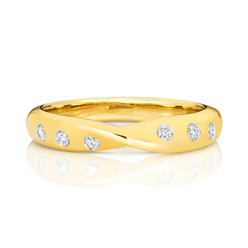 Womens 9ct yellow Gold 3mm 6 Diamonds Wedding Ring