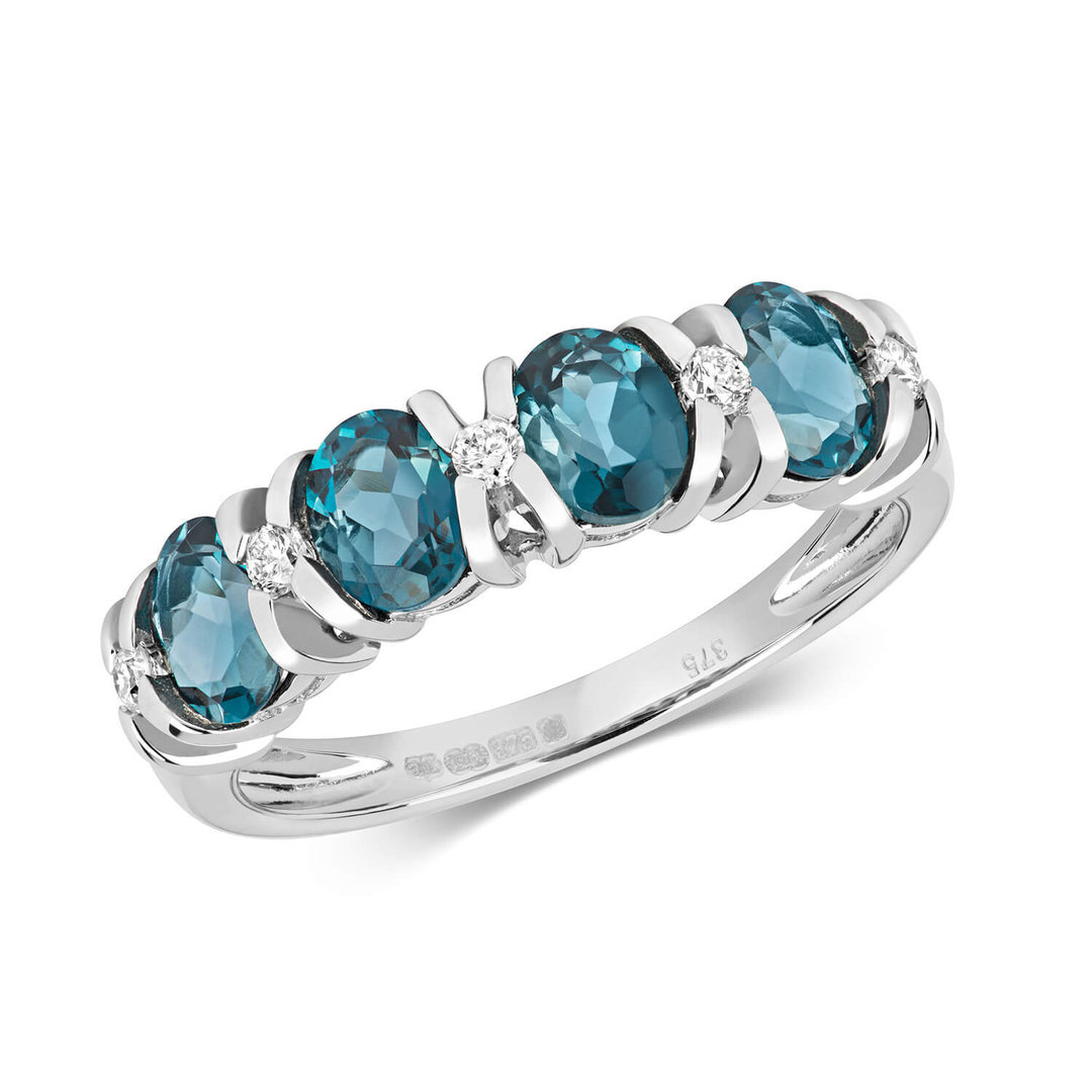 9ct White Gold Diamond London Blue Topaz Eternity Ring Newburysonline