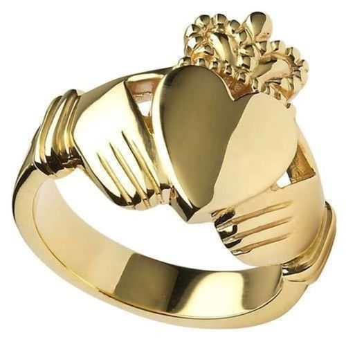 Men's 9ct Yellow Gold Claddagh Ring 25mm 17 grams