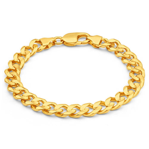 Mens solid 8 inch 9ct Gold Curb Bracelet 34 grams