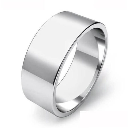Mens heavy Platinum 8mm flat shape Wedding Ring 16 grams