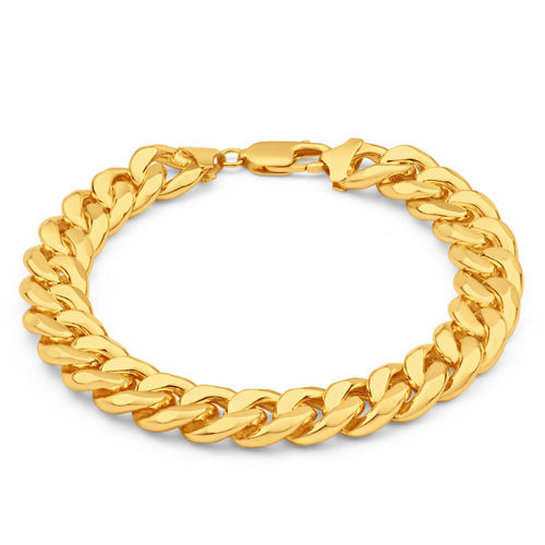 Mens heavy 9ct yellow Gold Curb Bracelet 8 1/2 inch 39 grams