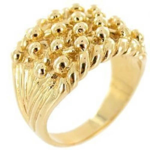 Men's solid 9ct Yellow Gold Keeper Ring 4 Row 20 grams