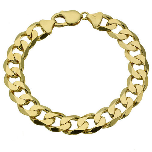 Men's 8 1/2 inch heavy 9ct Gold Curb Bracelet 65 grams