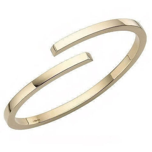 Solid 9ct Gold 3mm crossover square Bangle 24 grams