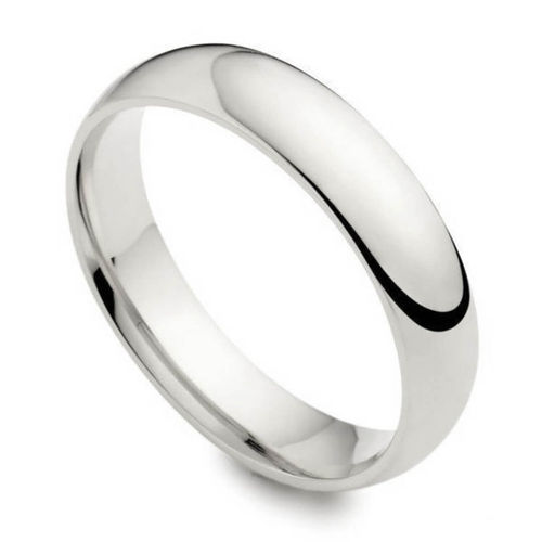 Womens 18ct White Gold 5mm Court shape Wedding Ring