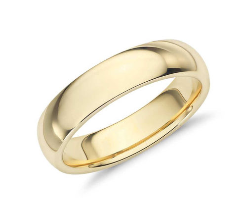 Men's 9ct yellow Gold 6mm Court shape Wedding Ring