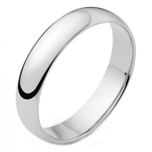 Womens 9ct white Gold 4mm D shape Wedding Ring