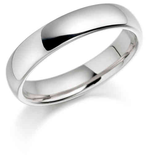 Womens 9ct white Gold 4mm Court shape Wedding Ring