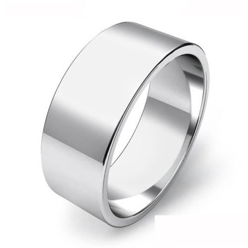Mens 9ct White Gold 8mm flat shape Wedding Ring