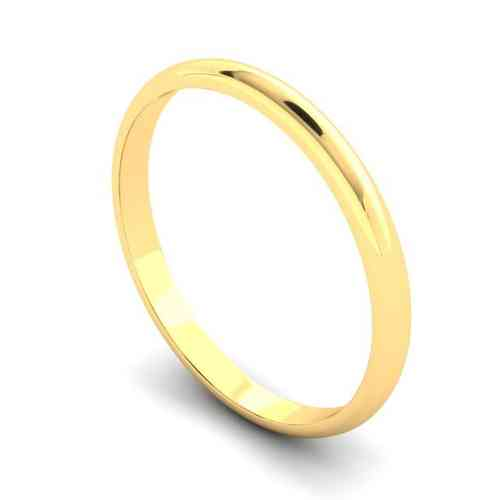 Womens 18ct Yellow Gold 2mm D shape Wedding Ring
