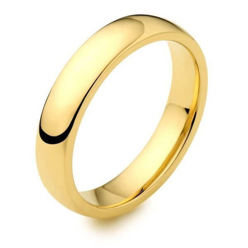 Mens 9ct Gold 4mm D shape Wedding Ring
