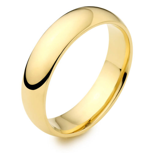Mens 9ct yellow Gold 8mm D shape Wedding Ring