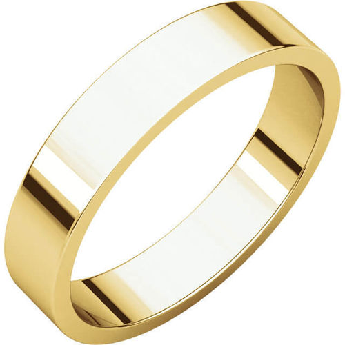 Womens 18ct Gold 4mm flat shape Wedding Ring