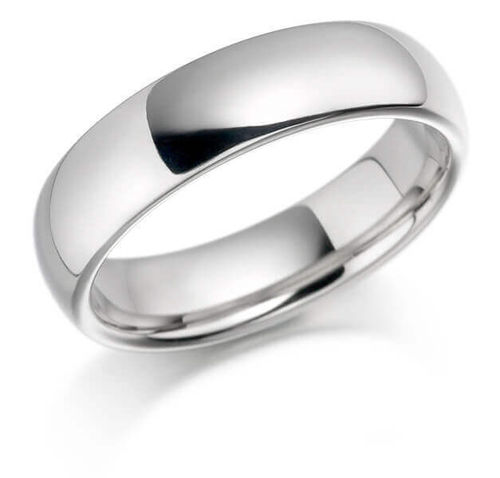 Womens Platinum 3mm heavy Court shape Wedding Ring