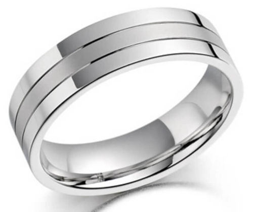Men's 18ct White Gold Grooved 4mm flat Court Wedding Ring