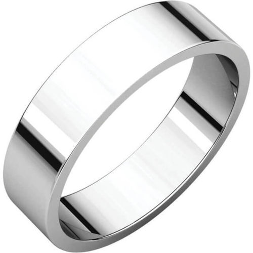 Men's 18ct white Gold 6mm flat shape Wedding Ring 8 grams