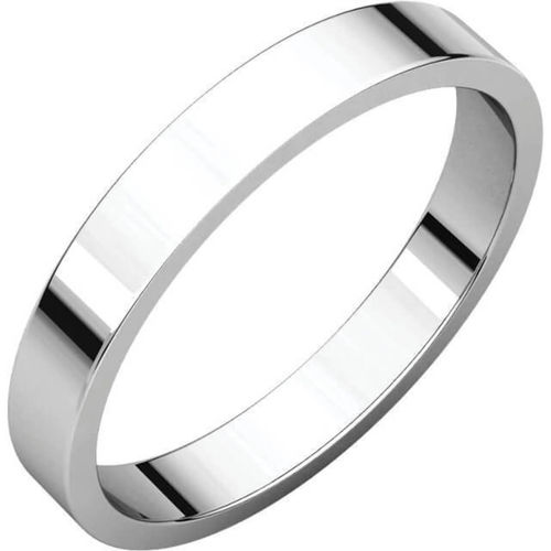 Womens 18ct white Gold heavy 3mm flat shape Wedding Ring