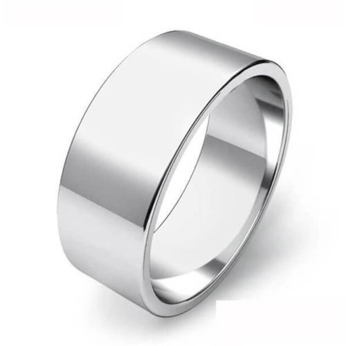 Mens 18ct white Gold heavy 8mm flat shape Wedding Ring 13 grams
