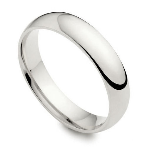 Womens 18ct white Gold heavy 3mm Court shape Wedding Ring