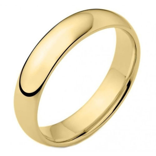 Men's 18ct yellow Gold heavy 5mm D shape Wedding Ring 8 grams