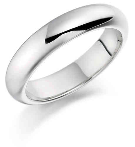 Womens 9ct white Gold heavy 4mm D shape Wedding Ring