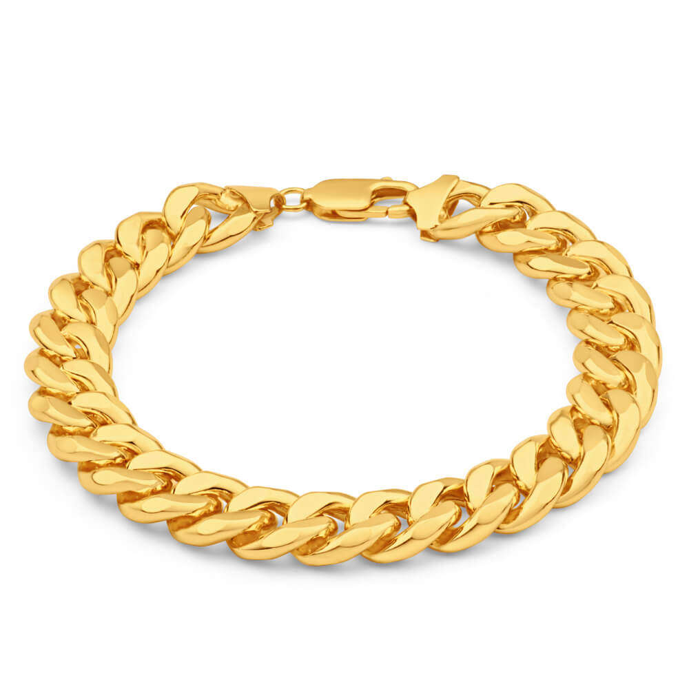 Mens 8 1 2 Inch Heavy 9ct Gold Curb Bracelet 48 Grams