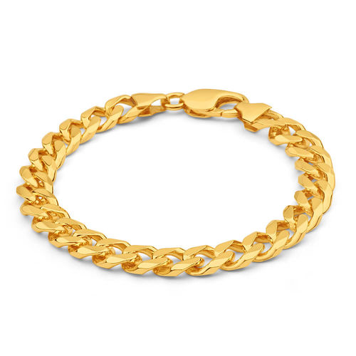 Mens solid 8 1/2 inch 9ct Gold Curb Bracelet 45 grams