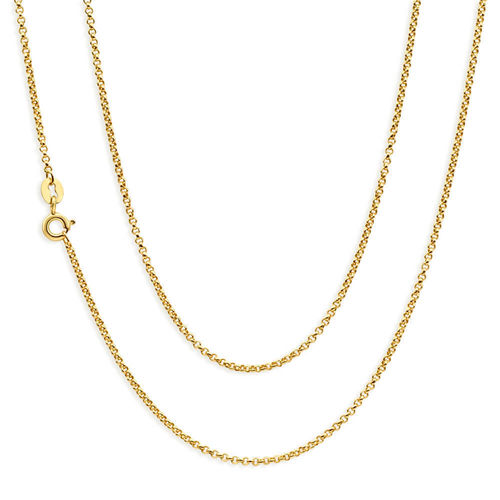 Women's 18 inch 9ct Gold diamond cut Belcher Chain Necklace