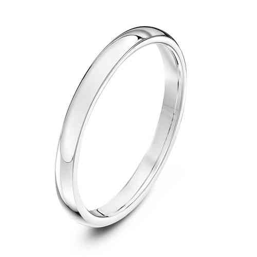 Womens Platinum 2mm Court shape Wedding Ring