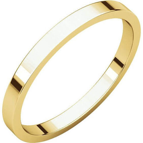 Womens 18ct Gold 2mm flat shape Wedding Ring