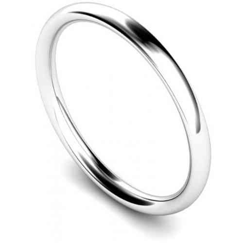 Womens 18ct white Gold 2mm Court shape Wedding Ring