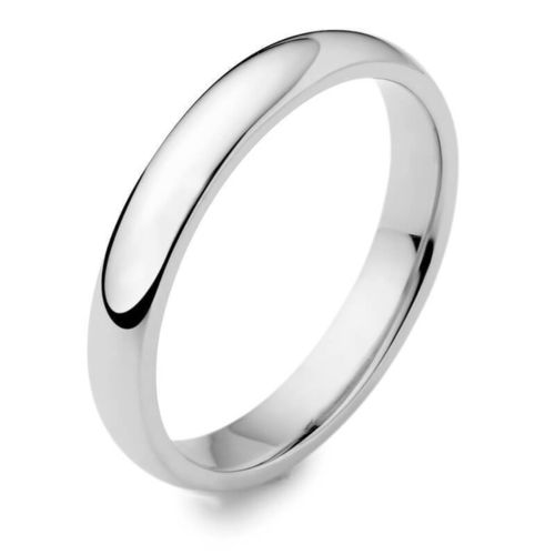 Womens Platinum 3mm D shape Wedding Ring