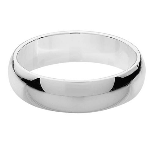 Mens Platinum 6mm D shape Wedding Ring