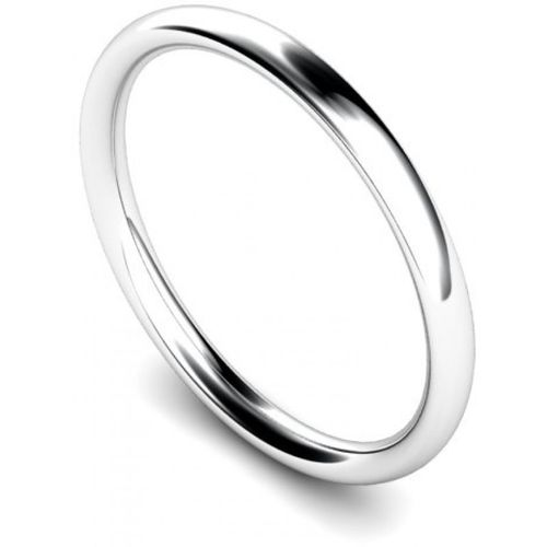 Womens heavy Platinum 2mm Court shape Wedding Ring