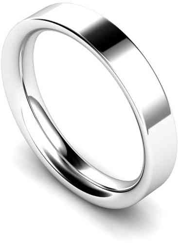 Womens Platinum 3mm flat Court shape Wedding Ring